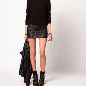 COSTA BLANCA Black Sequin Mini Skirt